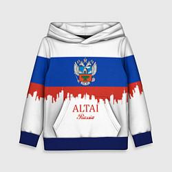 Толстовка-худи детская Altai: Russia цвета 3D-синий — фото 1