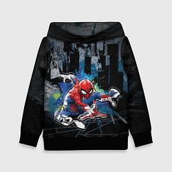 Толстовка-худи детская Spider-man over the city цвета 3D-черный — фото 1