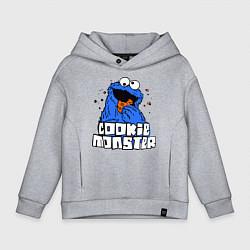 Детская хлопковая толстовка оверсайз с принтом Cookie Monster, цвет: меланж, артикул: 10010953906093 — фото 1