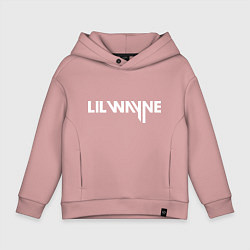 Детская хлопковая толстовка оверсайз с принтом Lil Wayne, цвет: пыльно-розовый, артикул: 10011009106093 — фото 1