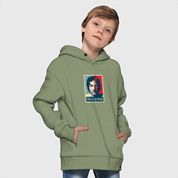 Толстовка оверсайз детская Lennon Imagine цвета авокадо — фото 2