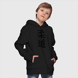 Толстовка оверсайз детская Дзюдо: иероглиф цвета черный — фото 2