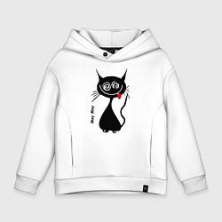 Толстовка оверсайз детская Кошка Мяу цвета белый — фото 1