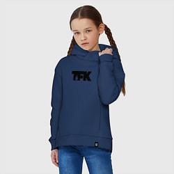 Толстовка оверсайз детская TFK: Black Logo цвета тёмно-синий — фото 2
