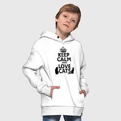 Толстовка оверсайз детская Keep Calm & Love Cats цвета белый — фото 2