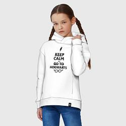 Толстовка оверсайз детская Keep Calm & Go To Hogwarts цвета белый — фото 2