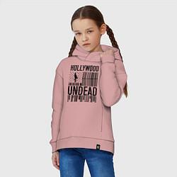 Толстовка оверсайз детская Hollywood Undead: flag цвета пыльно-розовый — фото 2
