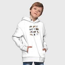 Толстовка оверсайз детская Конный виды спорта цвета белый — фото 2