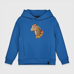 Толстовка оверсайз детская Лошадь в цветах цвета синий — фото 1