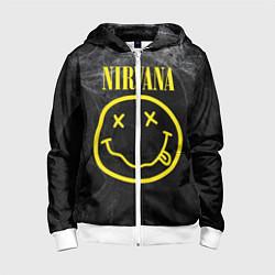 Толстовка на молнии детская Nirvana Smoke цвета 3D-белый — фото 1