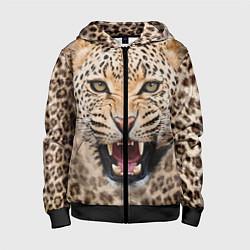 Толстовка на молнии детская Взгляд леопарда цвета 3D-черный — фото 1