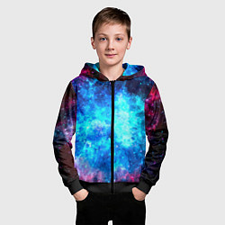 Толстовка на молнии детская Голубая вселенная цвета 3D-черный — фото 2