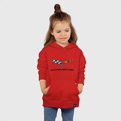 Толстовка детская хлопковая Chevrolet corvette цвета красный — фото 2