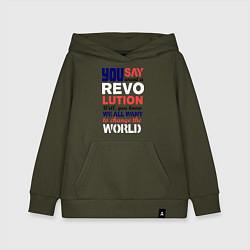 Толстовка детская хлопковая The Beatles Revolution цвета хаки — фото 1