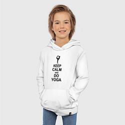 Толстовка детская хлопковая Keep Calm & Do Yoga цвета белый — фото 2