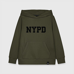 Толстовка детская хлопковая NYPD цвета хаки — фото 1
