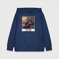 Толстовка детская хлопковая Капитан Америка цвета тёмно-синий — фото 1