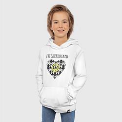 Толстовка детская хлопковая Шерлок Сердце Im Sherlocked цвета белый — фото 2