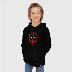 Толстовка детская хлопковая Deadpool logo цвета черный — фото 2