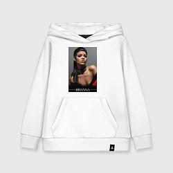 Толстовка детская хлопковая Rihanna: portrait цвета белый — фото 1