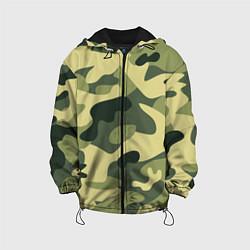 Куртка с капюшоном детская Камуфляж: зеленый/хаки цвета 3D-черный — фото 1