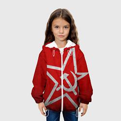 Детская 3D-куртка с капюшоном с принтом Флаг СССР: Серп и Молот, цвет: 3D-белый, артикул: 10105079605458 — фото 2