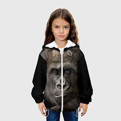 Куртка с капюшоном детская Глаза гориллы цвета 3D-белый — фото 2