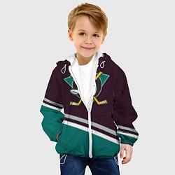 Детская 3D-куртка с капюшоном с принтом Anaheim Ducks, цвет: 3D-белый, артикул: 10107220705458 — фото 2
