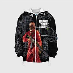 Детская 3D-куртка с капюшоном с принтом GTA V: Map, цвет: 3D-белый, артикул: 10116262705458 — фото 1
