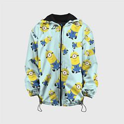 Детская 3D-куртка с капюшоном с принтом Миньоны, цвет: 3D-черный, артикул: 10131815605458 — фото 1