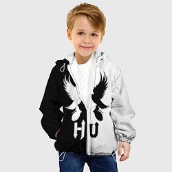 Детская 3D-куртка с капюшоном с принтом HU: Black & White, цвет: 3D-белый, артикул: 10137622105458 — фото 2