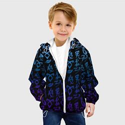 Детская 3D-куртка с капюшоном с принтом Blue Runes, цвет: 3D-белый, артикул: 10156245305458 — фото 2