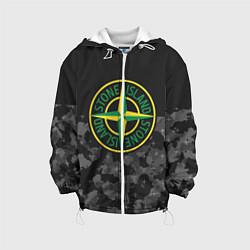 Детская 3D-куртка с капюшоном с принтом Stone Island: Black & Grey, цвет: 3D-белый, артикул: 10166638105458 — фото 1