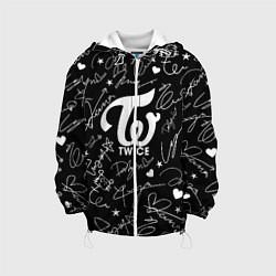 Детская 3D-куртка с капюшоном с принтом TWICE АВТОГРАФЫ, цвет: 3D-белый, артикул: 10192887305458 — фото 1