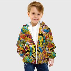 Детская 3D-куртка с капюшоном с принтом Batman logos, цвет: 3D-белый, артикул: 10194768105458 — фото 2