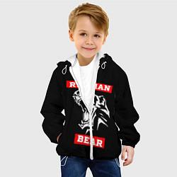Детская 3D-куртка с капюшоном с принтом RUSSIAN BEAR - WILD POWER, цвет: 3D-белый, артикул: 10199038305458 — фото 2