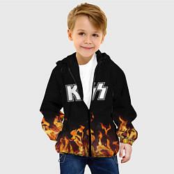 Детская 3D-куртка с капюшоном с принтом Kiss: Hell Flame, цвет: 3D-черный, артикул: 10199651305458 — фото 2