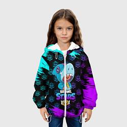 Детская 3D-куртка с капюшоном с принтом Brawl stars leon shark, цвет: 3D-белый, артикул: 10207752505458 — фото 2
