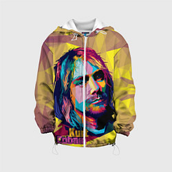Куртка с капюшоном детская Kurt Cobain: Abstraction цвета 3D-белый — фото 1