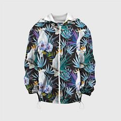 Куртка с капюшоном детская Тропические попугаи цвета 3D-белый — фото 1