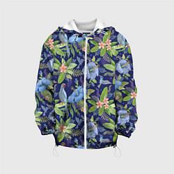 Детская 3D-куртка с капюшоном с принтом Голубые попугаи, цвет: 3D-белый, артикул: 10065279505458 — фото 1