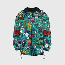 Детская 3D-куртка с капюшоном с принтом Стикербомбинг, цвет: 3D-черный, артикул: 10071235705458 — фото 1