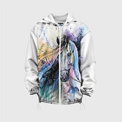 Детская 3D-куртка с капюшоном с принтом Акварельная лошадь, цвет: 3D-белый, артикул: 10079155405458 — фото 1