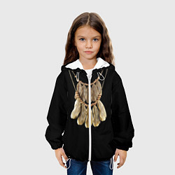 Куртка с капюшоном детская Золотые перья цвета 3D-белый — фото 2