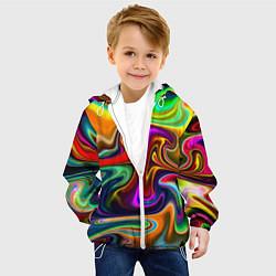 Куртка с капюшоном детская Неоновые разводы цвета 3D-белый — фото 2