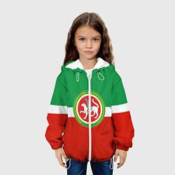 Куртка с капюшоном детская Татарстан: флаг цвета 3D-белый — фото 2