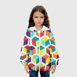 Куртка с капюшоном детская 3D кубы цвета 3D-белый — фото 2