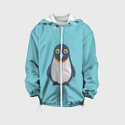 Детская 3D-куртка с капюшоном с принтом Пингвин, цвет: 3D-белый, артикул: 10096326805458 — фото 1