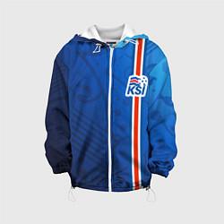 Куртка с капюшоном детская Сборная Исландии по футболу цвета 3D-белый — фото 1