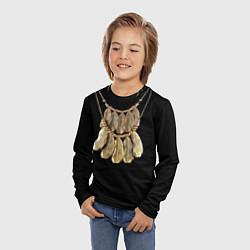 Лонгслив детский Золотые перья цвета 3D — фото 2